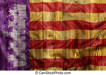 National flag of Mallorca, wooden background