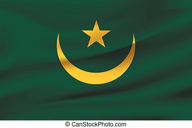 National flag of MAURITANIA. Realistic vector illustration.