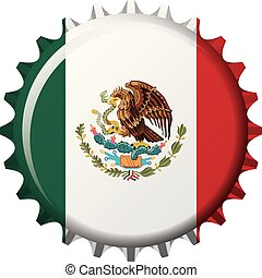 National flag of Mexico on a bottle cap. Vector Illustration