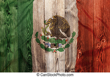 National flag of Mexico, wooden background