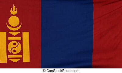 National flag of Mongolia flying on the wind