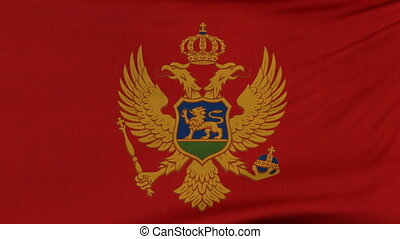 National flag of Montenegro flying on the wind
