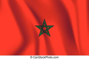 National flag of Morocco. Realistic vector illustration.