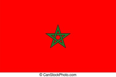 National flag of Morocco. Vector illustration.