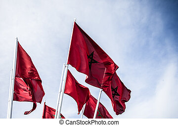 National flag of Morocco waving in the wind