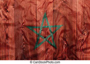 National flag of Morocco, wooden background
