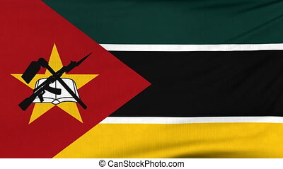 National flag of Mozambique flying on the wind