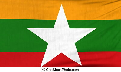 National flag of Myanmar flying on the wind