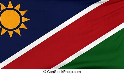 National flag of Namibia flying on the wind