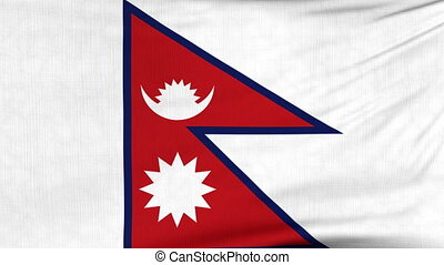 National flag of Nepal flying on the wind