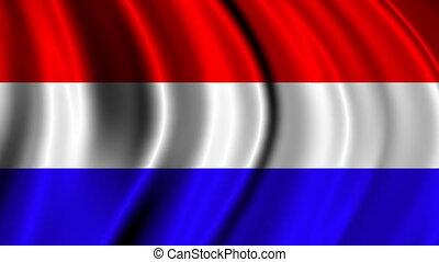 Wavy national flag of Netherlands