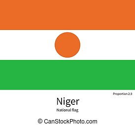 National flag of Niger with correct proportions, element,...