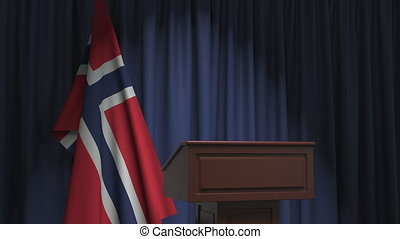 Flag and speaker podium tribune. Political event or statement related conceptual 3D