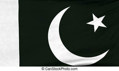 National flag of Pakistan flying on the wind