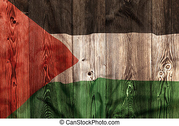 National flag of Palestine, wooden background