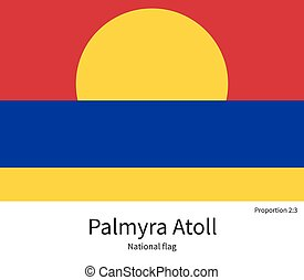 National flag of Palmyra Atoll with correct proportions,...