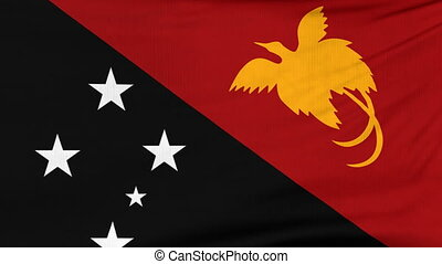 National flag of Papua New Guinea flying on wind - National...