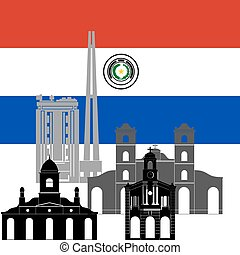 Paraguay - National flag of Paraguay and architectural ...