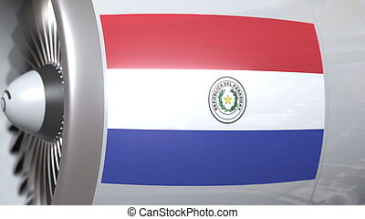 National flag of Paraguay on airplane tourbine engine. Aviation related 3D rendering
