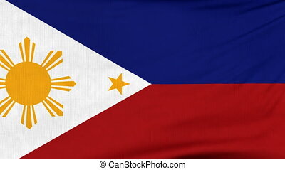 National flag of Philippines flying on the wind