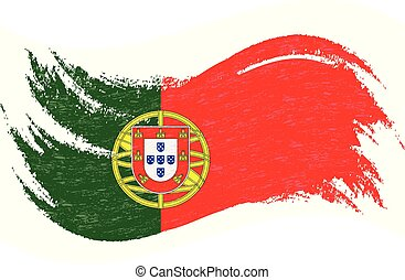 National Flag Of Portugal, Designed Using Brush Strokes, Isolated On A White Background. Vector Illustration.