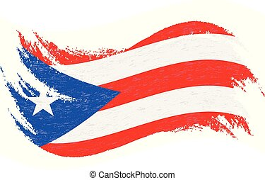 National Flag Of Puerto Rico, Designed Using Brush Strokes, Isolated On A White Background. Vector Illustration. Use For Brochures, Printed Materials, Logos, Independence Day.