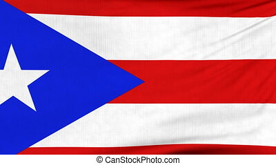 National flag of Puerto Rico flying on the wind