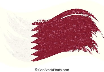 National Flag Of Qatar, Designed Using Brush Strokes, Isolated On A White Background. Vector Illustration.