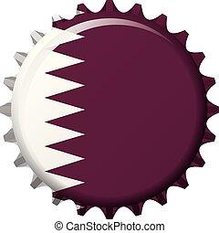 National flag of Qatar on a bottle cap. Vector Illustration