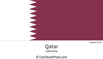 National flag of Qatar with correct proportions, element, colors