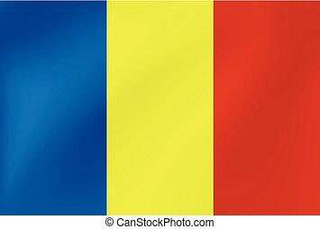 National flag of Romania with wavy texture - Vector illustration