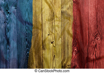 National flag of Romania, wooden background
