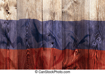 National flag of Russia, wooden background