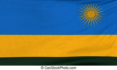 National flag of Rwanda flying on the wind
