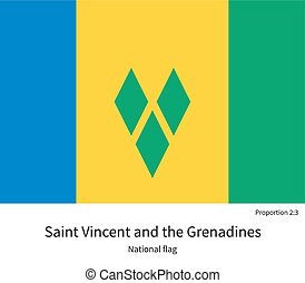 National flag of Saint Vincent and Grenadines with correct...