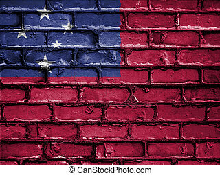 National Flag of Samoa on a Brick Wall