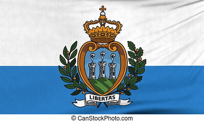 National flag of San Marino flying on the wind