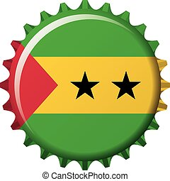 National flag of Sao Tome and Principe on a bottle cap....