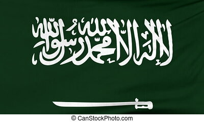 National flag of Saudi Arabia flying on the wind - National...