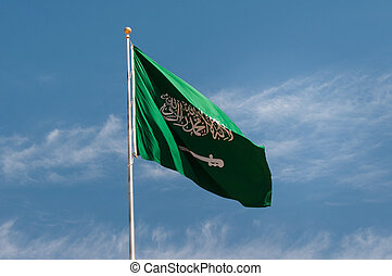 National flag of Saudi Arabia, in Madaîn Saleh