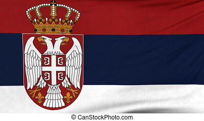 National flag of Serbia flying on the wind - National flag...