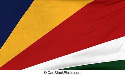 National flag of Seychelles flying on the wind