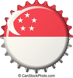 National flag of Singapore on a bottle cap. Vector Illustration