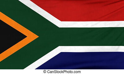National flag of South Africa flying on the wind