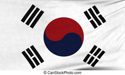 National flag of South Korea flying on the wind - National...