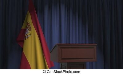 National flag of Spain and speaker podium tribune. Political event or statement related conceptual 3D animation