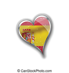 national flag of spain in heart shape with additional details