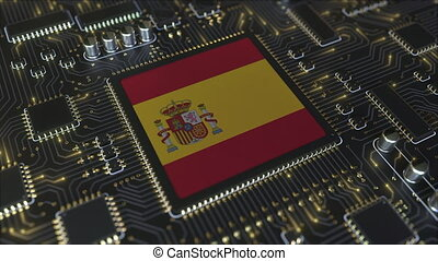 National flag of Spain on the operating chipset. Spanish information technology or hardware development related conceptual 3D animation