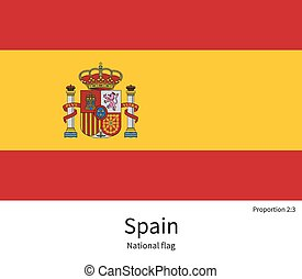 National flag of Spain with correct proportions, element, colors