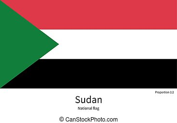 National flag of Sudan with correct proportions, element, colors